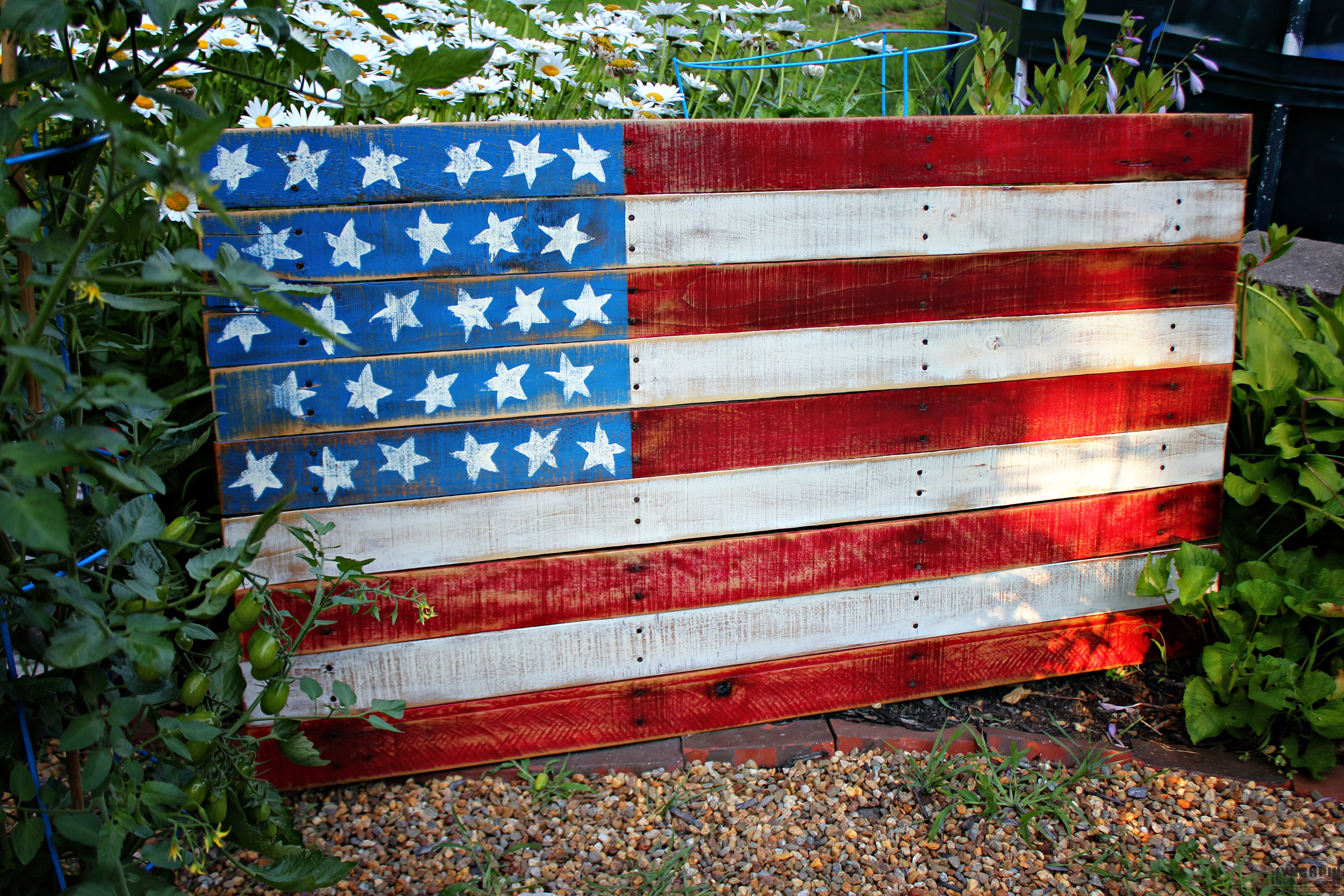 American Wood Flag Recycled Fence Panel Sign
